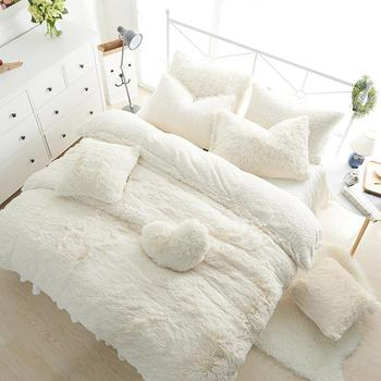 Princess Style Solid Color Snow White Bed Skirt Duvet Cover Bedspread Bedclothes Bed Linen Bedding Set