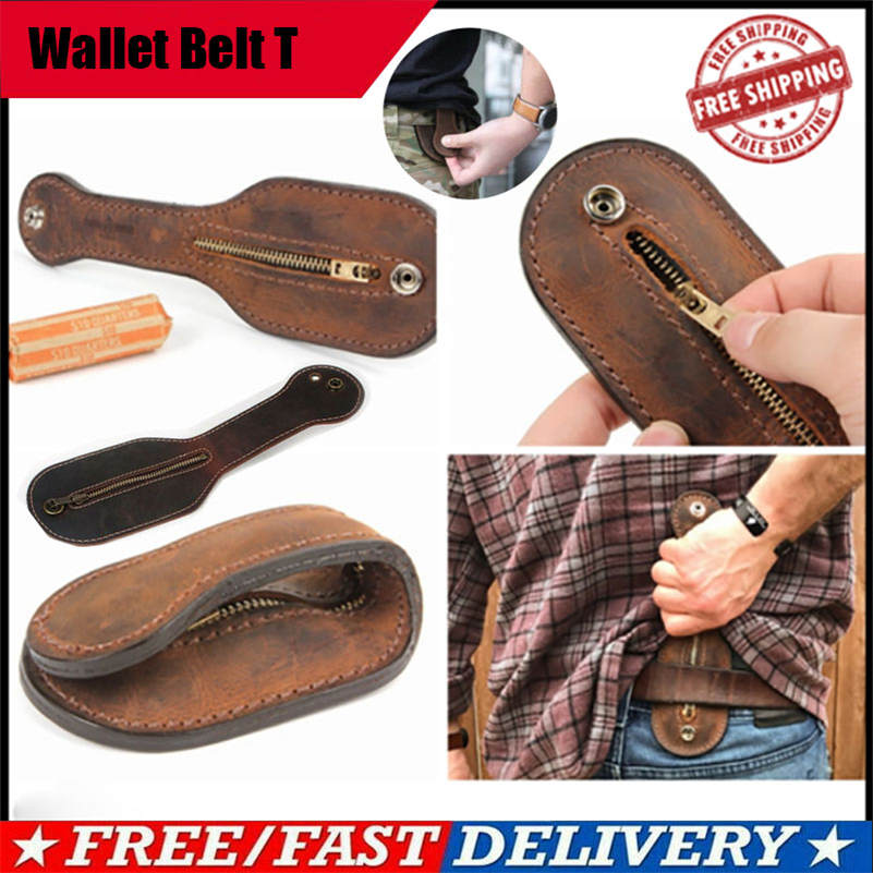 Genuine Leather Coin Purse SAP Racket Large Capacity Self Defense Belt