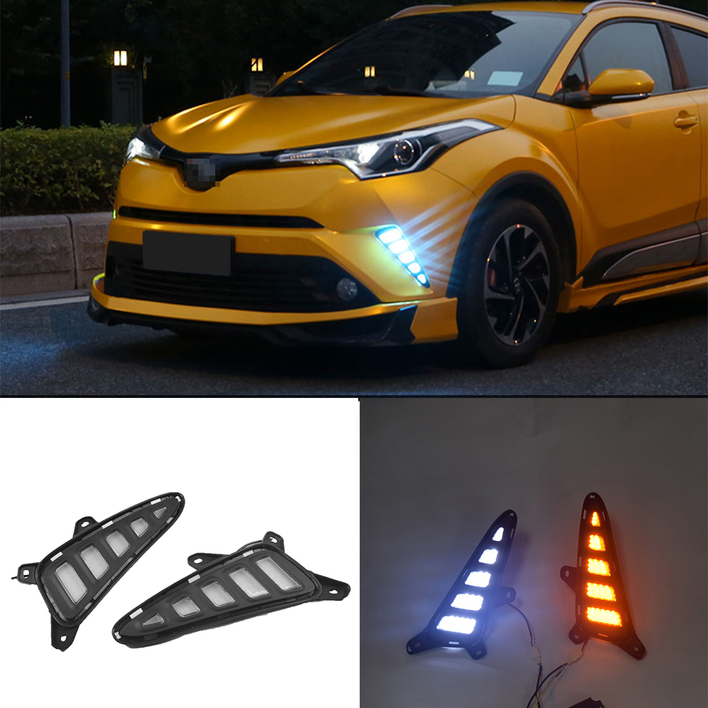 Exact Fit Toyota CH-R 2017-up LED Daytime Running Lights Fog lamp w// Turn Signal