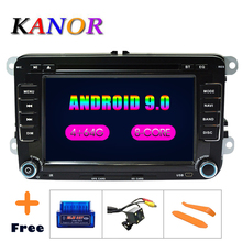 цена на KANOR Car Multimedia Player Android 9.0 4+32G 2 Din For Golf 5 6 Passat B6 Polo Caddy Seat Skoda canbus dvd automotivo fm radio