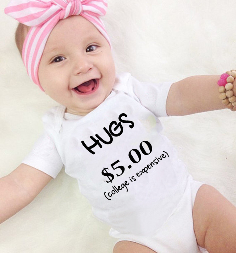 Toddler Baby Girls Bodysuit Short-Sleeve Onesie Free Hugs Print Rompers Summer Pajamas