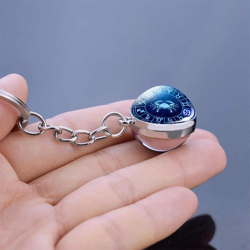 Recém chegados 12 constellation jóias zodíaco chaveiro bola de vidro cristal pingente chaveiro acessórios do carro casal presentes natal