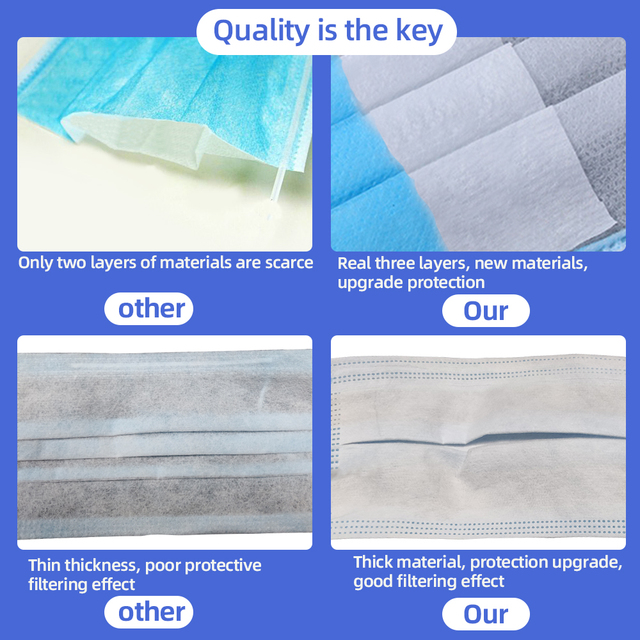 PM2.5 3 layer Filter Masks Anti Droplet Dust Foul Smell Safety Protective Disposable Mouth Face Mask 50pcs Breathable respirator 3