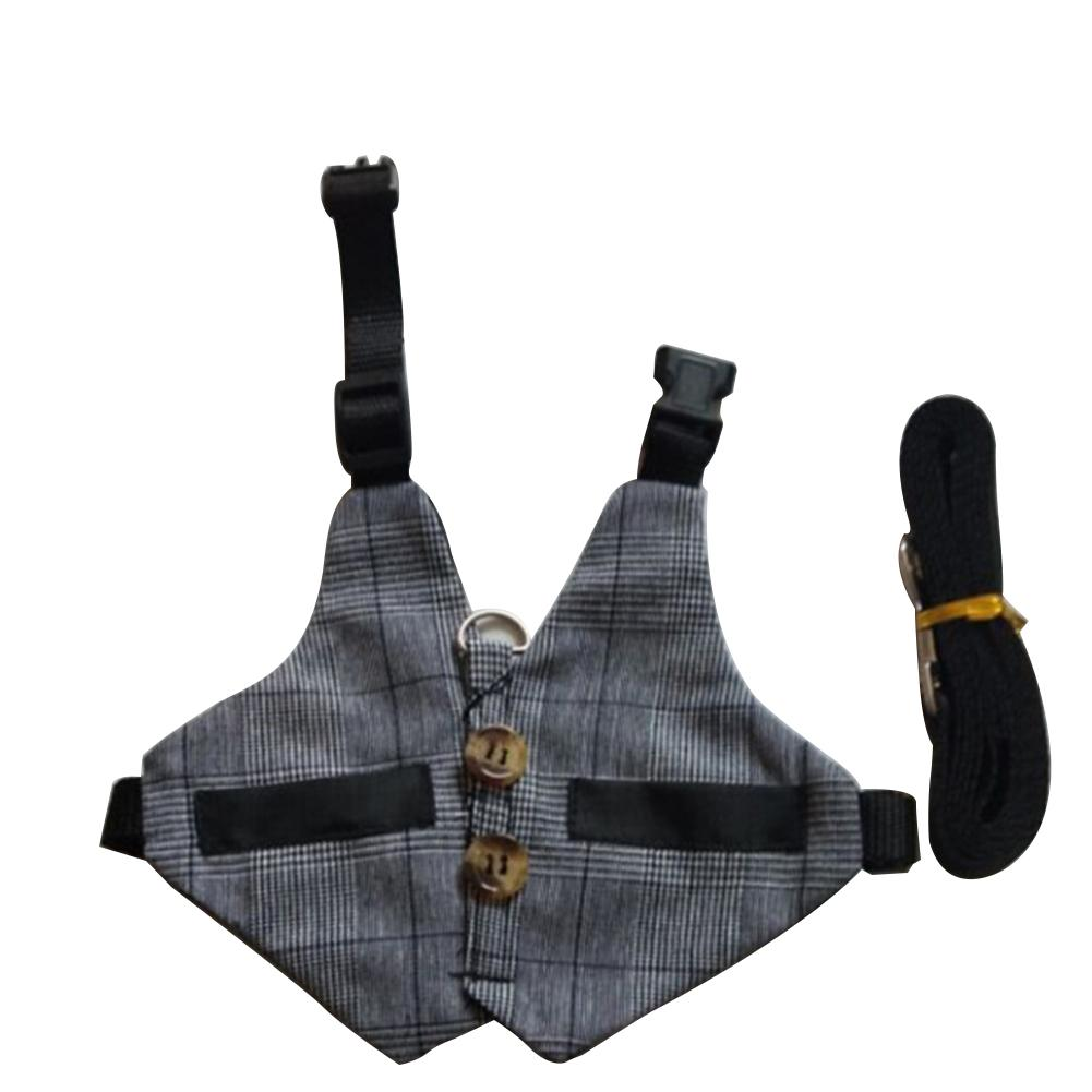 Rabbit Vest Harness Adjustable Soft Harness Set With Button Decor For Bunny Kitten Small Animal