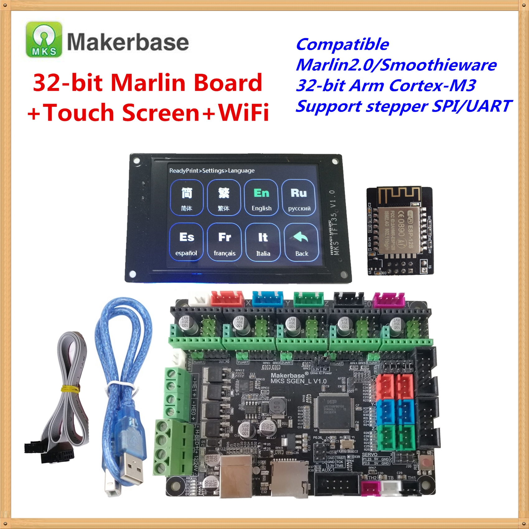 Compatible Marlin2.0 Smoothieware MKS SGEN-L Card + MKS TFT35 Touch LCD + MKS TFT WI-FI Part Similar BIGTREETECH SKR V1.3 Board