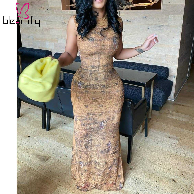 Bodycon Dresses 2020 Sexy Bandage Sleeveless Pencil Vintage Retro Africa Evening Party Long  Dresses Ladies 70s hippie Clothes 2