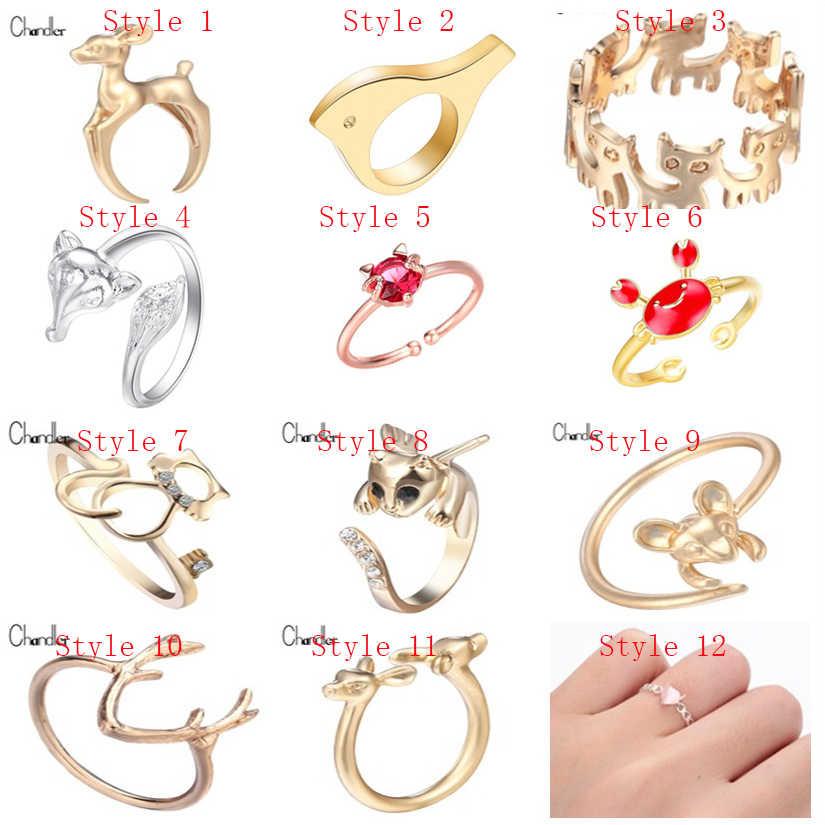 צ 'נדלר חמוד בעלי החיים טבעות עבור בנות אבן שועל טבעת חתול קרן צבי עכבר צבי ציפור סרטנים בעלי החיים Bague תכשיטים אנל Anillos