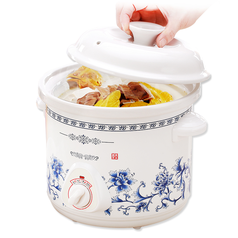 1.5L Ceramic Electric Mini Slow Cooker Mechanical Timer Stewing Soup Porridge Health Pot Household Food Cooking Machine 140W