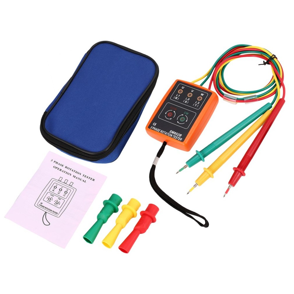 SM852B Phase Indicator 3 Phase Rotation Tester Digital Phase Indicator Detector LED Buzzer Phase Sequence Meter 60V~600V AC