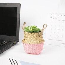 Escritório desktop seagrass planta carnuda flor cesta pote caneta caixa de armazenamento papelaria balde mesa tecido vime jardim pote