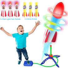 Air Power Stomp Rocket Launcher Toys Famous Game Outdoor Games Fly Shining Led Light Rocket Adjustable Super Stable Four Corner