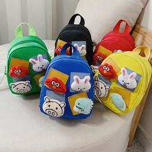 Cartoon Patch Baby Bags Kindergarten Boys Girls Backpack Cute Children Plush 5 Colors Child Bag