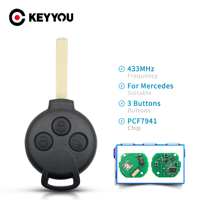 KEYYOU 3ปุ่มรีโมทกุญแจรถสำหรับ Mercedes Benz Smart Fortwo 451 2007 2008 2009 2010 2011 2012 2013 433Mhz ID46