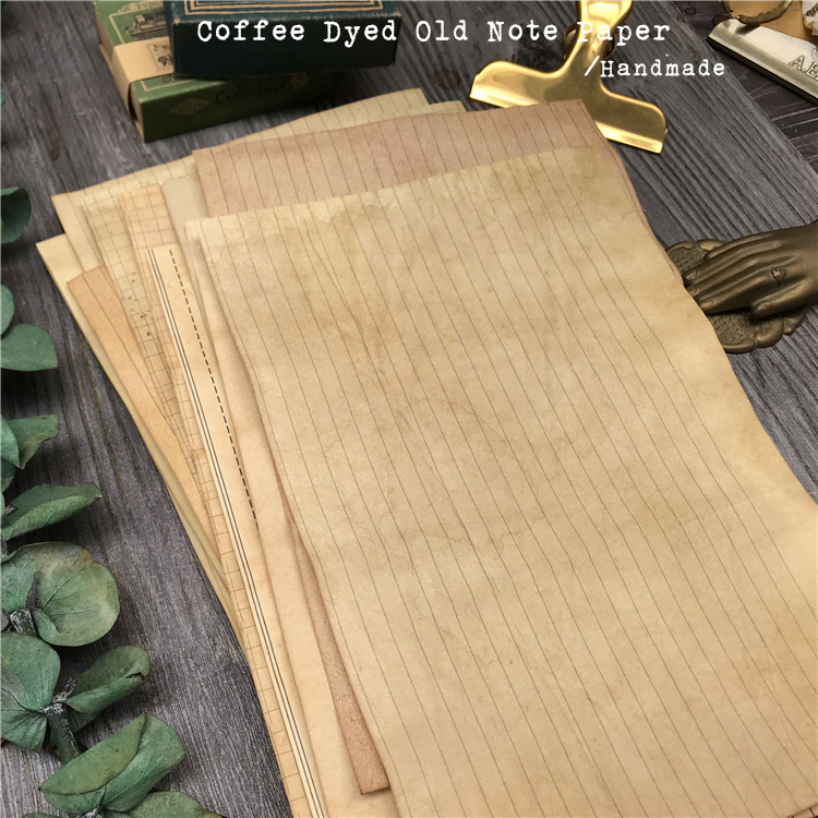 Handmade Coffee Dyeing stains Note Paper Material Background Journal Decoration Yellowing DIY Scrapbooking Craft Paper