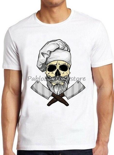 Skull Chef T Shirt Funny Butcher Cooking Saying Grill Gift Vintage Cool Tee cottom men t-shirt summer tshirt for male 4XL 5XL