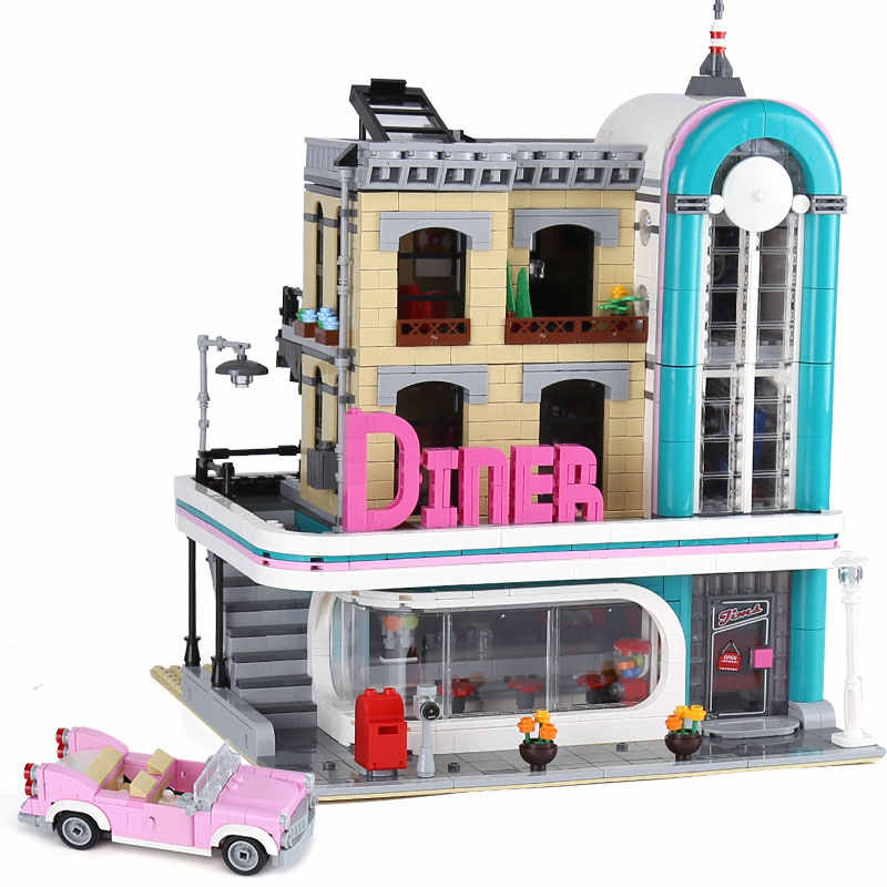 10260 legoinglys Diners city Creator expert Downtown 15037 2480Pcs Street View Model Building Blocks Bricks Kids Education Toys