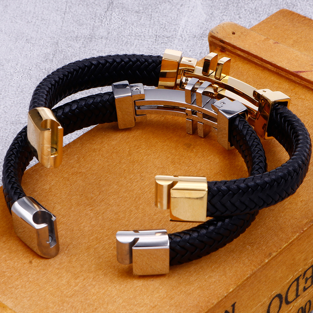 11MM Braided Genuine Leather Bracelet Men Gold Stainless Steel Mens Charm Bracelets 2020 Handmade Male Jewelry Wrist Band Men