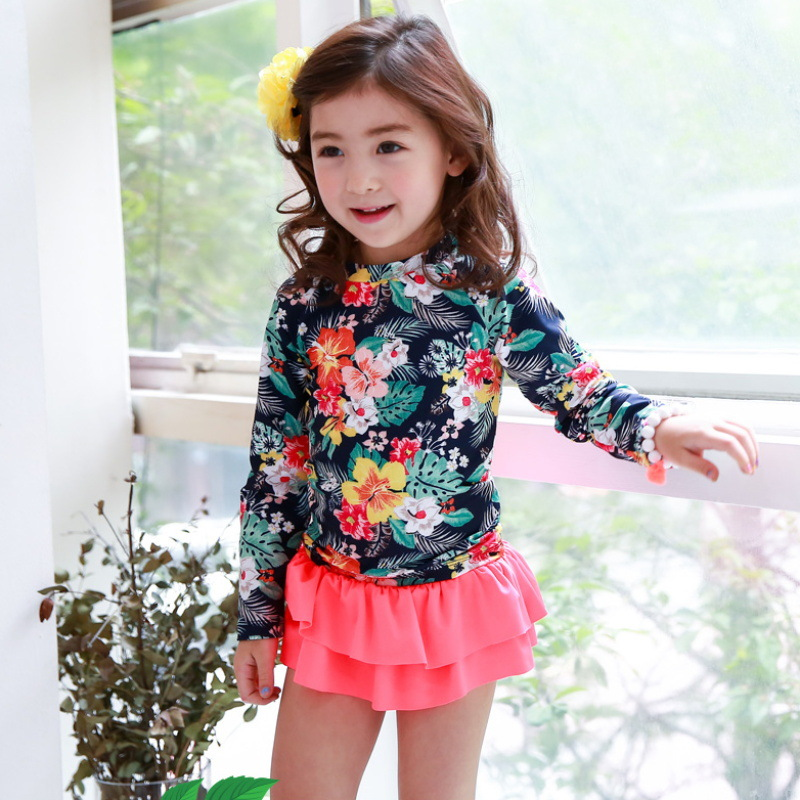 2018 New Style Korean-style KID'S Swimwear GIRL'S One-piece Big Boy Sun-resistant Long Sleeve Skirt-Girls Baby Swim Bathing Suit