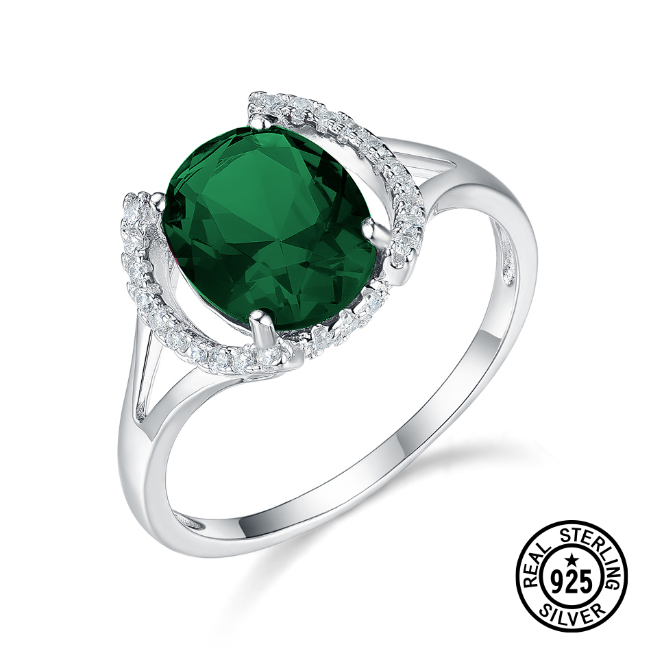 DY Women's Rings 925 Sterling Silver Jewelry Ring With Oval Gemstone Blue Sapphire Red Ruby Green Emerald CZ Ring Wedding Gifts