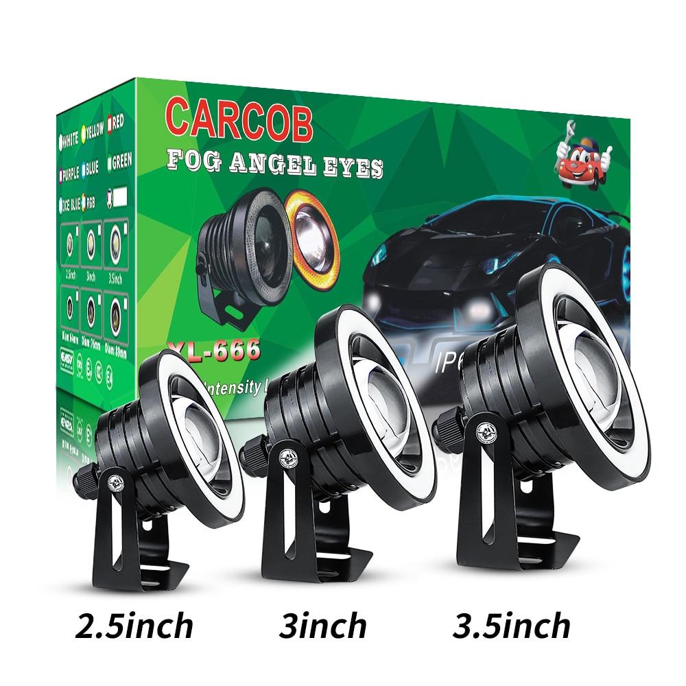 2.5INCH Car Angel Eyes Halo Ring DRL Lamp COB LED Fog Light Projector Car White