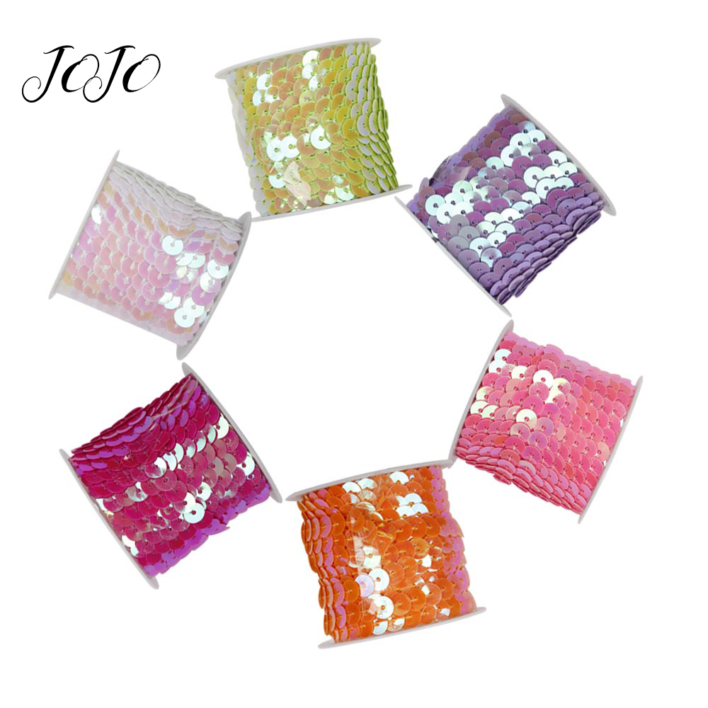 JOJO BOWS 6mm 5y DIY Craft Supplies Solid Sequin String Ribbon For Needlework Apparel Sewing Materials Holidays Party Decoration