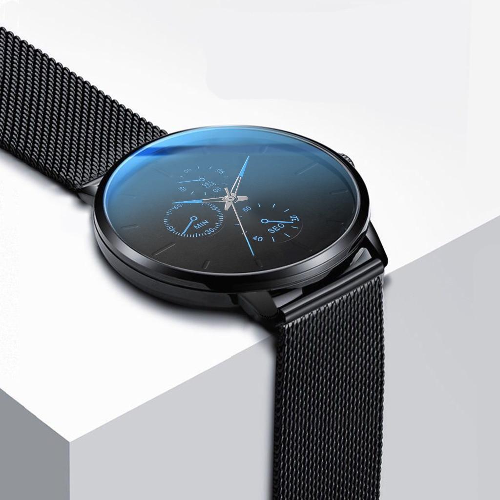 Reloje 2019 Fashion Blue Watch Men Quartz Clock Mens Watches Top Brand Luxury Ultra Thin Man Wristwatch Waterproof Clock Xfcs