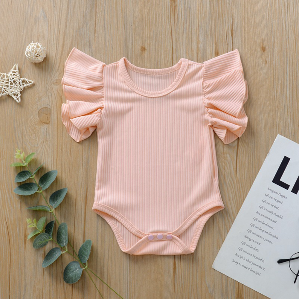 CYSINCOS Summer Baby Girls Ruffles Romper Solid Cotton Newborn Pajamas Infant Casual Short Sleeve Jumpsuit Girl Toddler Ropas