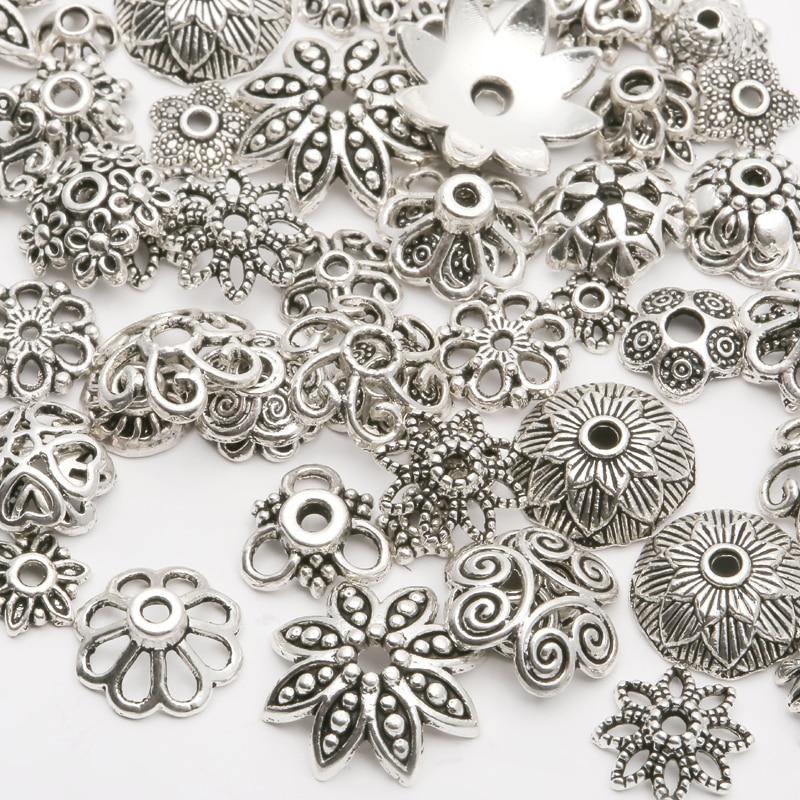 150Pcs Metal Flower Spacer Beads