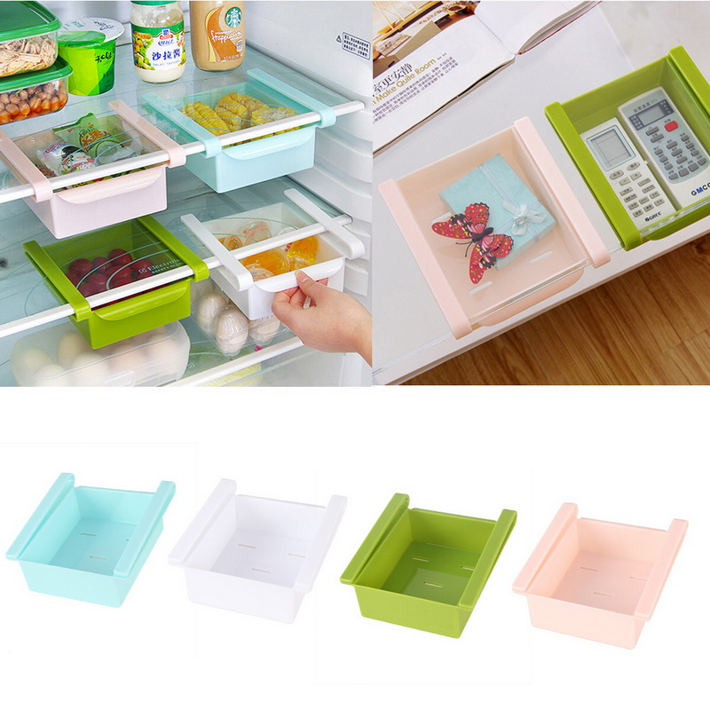 Image 2 - Mini ABS DIY Slide Kitchen Fridge Freezer Space Saver Organization Storage Rack Bathroom Shelf Rack Organizer Holder-in Storage Holders & Racks from Home & Garden