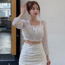 Блузка liva girl Женская с квадратным вырезом корейский кружевной