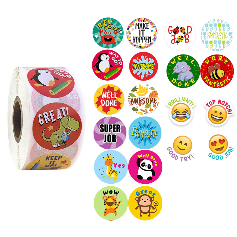500 Pcs/roll Round Cute Cartoon Animals Stickers Scrapbooking Teacher Encouragement Reward Sticker For Kids Stationery Stickers
