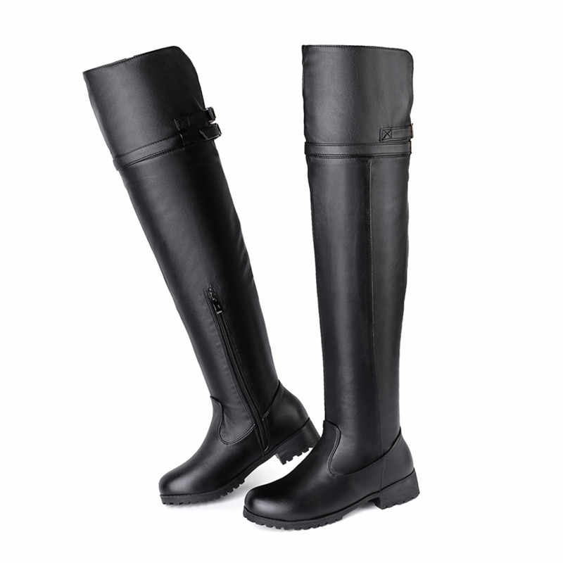 MoonMeek artı boyutu 34-48 moda bayanlar sonbahar kış çizmeler yuvarlak ayak diz çizmeler zip düşük topuklu kadın botları 2020 yeni