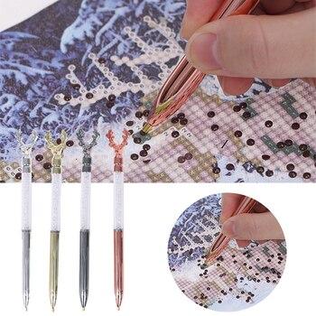1 ud. De bolígrafos de ciervo de cristal 5D con punta de diamante para pintar, bolígrafos de venado DIY para bordado de punto de cruz, manualidades, accesorios de costura