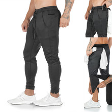 YEMEKE Fitness Men Joggers Sweatpants Thin Gray Sportswear Jogger Pants Casual Trousers Gyms Bodybuilding Track