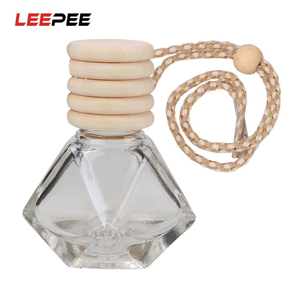 LEEPEE Hanging Glass Bottle For Essential Oils Air Freshener Container Crystal Glass Perfume Pendant Car Perfume Empty Bottle