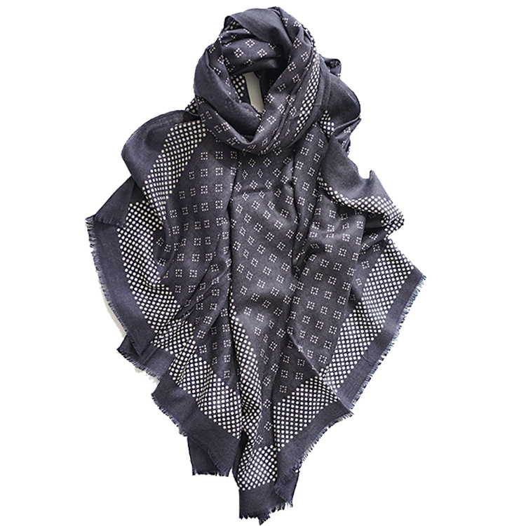 Hijab Scarf Tassel Long Shawl Large-Size Winter Women New Autumn Gray Wool Office Dual-Use
