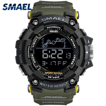 Мужские водонепроницаемые спортивные наручные цифровые светодиодные часы армейского стиля с секундомером SMAEL 1802
