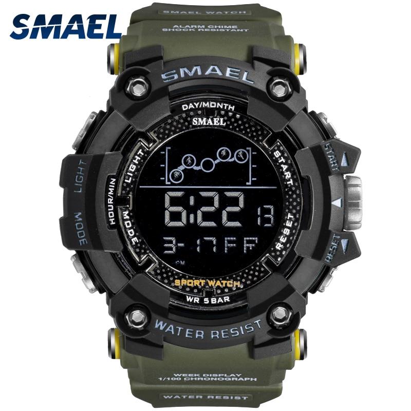 Hommes montre militaire résistant à leau SMAEL Sport montre armée led numérique poignet chronomètres pour homme 1802 relogio masculino montres