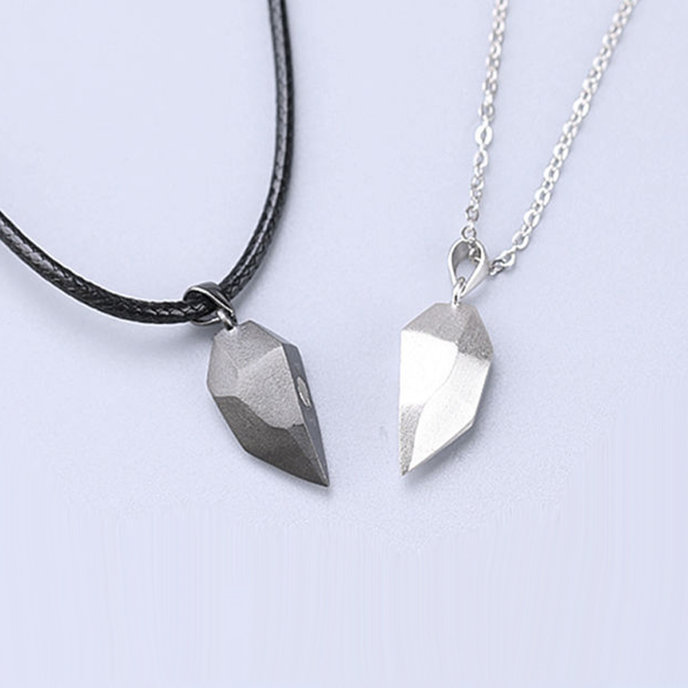 1Pair Magnetic Couple Heart Shape Necklace Gothic Punk Style For Men Jewelry Wedding Lovers Couples Valentine's Day gift Gifts