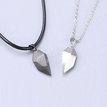 1 par magnético casal forma do coração colar estilo punk gótico para homens jóias amantes do casamento casais presentes do presente do dia dos namorados
