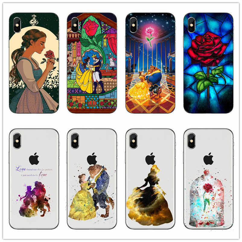 Beauty And The Beast Rose Keras PC Phone Case Bening untuk iPhone 11 Pro 11pro Max 7 6 6S 8 Plus 8 P X XS XR Max 5 5S SE Plastik