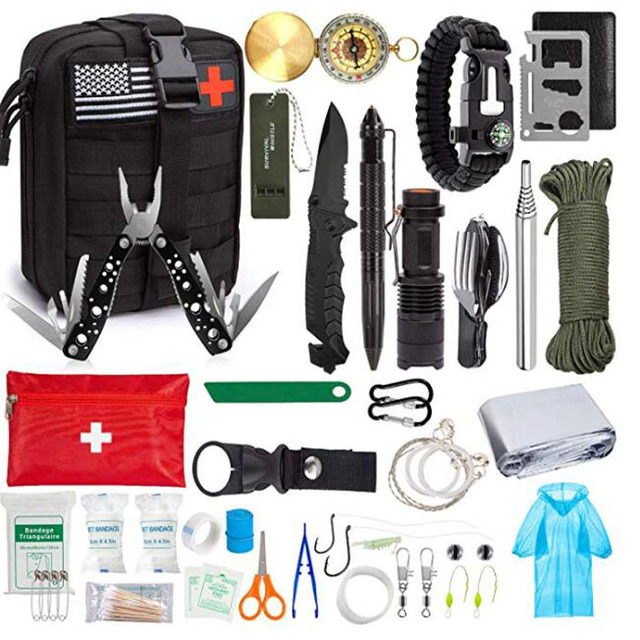 Emergency Survival Kit Survival Gear First Aid Kit SOS Tactical Tool Flashlight with Molle bag Suitable for Camping Adventure 6