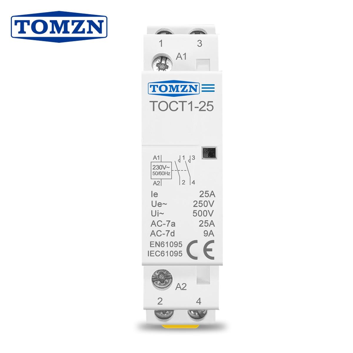 TOCT1 2P 25A 220V/230V 50/60HZ Din rail Household ac Modular contactor  2NO 2NC or 1NO 1NC