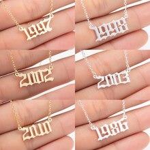 Oly2u ze stali nierdzewnej 1997 1998 1999 złoty kolor naszyjniki niestandardowy rok urodzenia wisiorek naszyjniki kobiety biżuteria prezenty