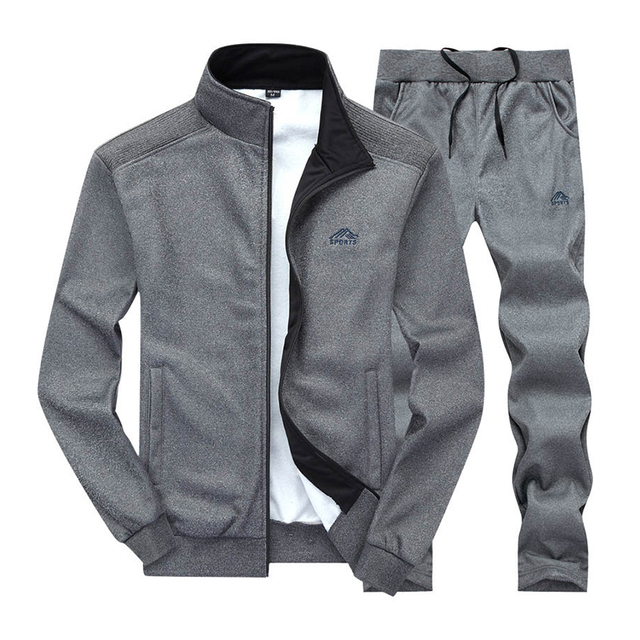 Men Sportswear Set Brand Mens Tracksuit Sporting Fitness Clothing Two Pieces Long Sleeve Jacket + Pants Casual Men's Track Suit 4