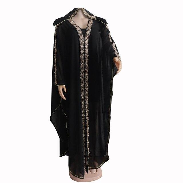 2 Pieces Sets Turkey Abaya Muslim Dress Women Chiffon Hooded Moroccan Kaftan Evening Dresses Pakistan Islamic Hijab Vestidos