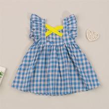 Baby Girls Clothes Plaid Fly Sleeve U-shaped Neck Cross Cutout 1 Pcs,nfant Summer A-line Dress