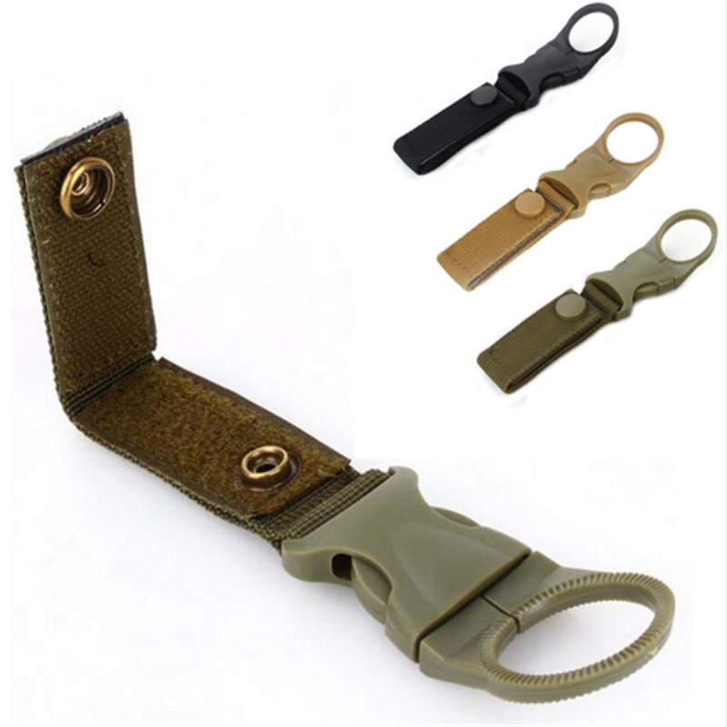 Hiking Military Nylon Webbing Buckle Hook Water Bottle Holder Clip Climbing Carabiner Belt Backpack Hanger Hooks Outdoor Tools