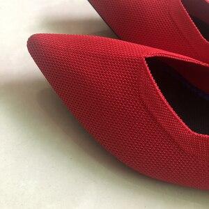 Image 4 - 2020 새로운 여성 캐주얼 플랫 럭셔리 브랜드 얕은 입 지적 발레 여성 보트 신발 양모 니트 출산 로퍼 혼합