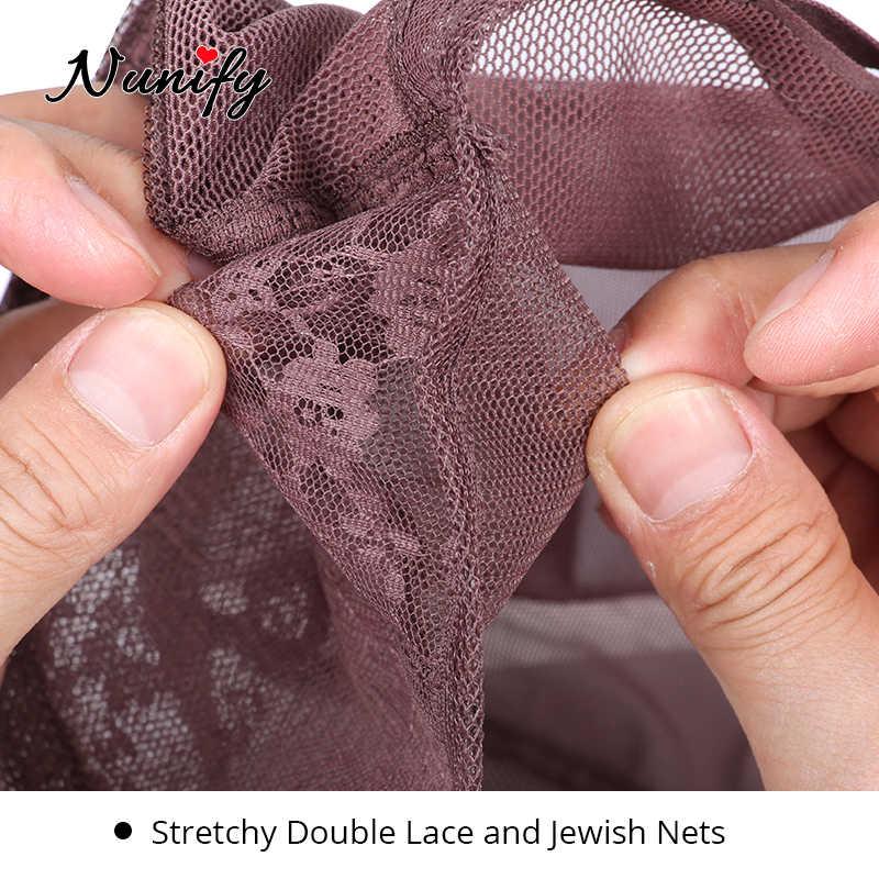 Nunify 3 teile/los Mode Schwarz Weben Verstellbaren Riemen Doppel Net Auf Front Haar Netze Glueless Perücke Caps Gute Qualität Haar net Schwarz
